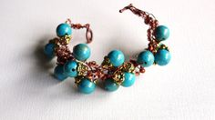 Copper and Turquoise Beaded Crocheted by SweetCarolinaCharm, $34.00
