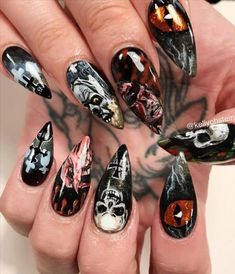 Halloween Nail Art, Halloween Skull, Spooky Halloween, Skull Nail Art, Skull Nails, Candy Corn Nails, Pumpkin Faces, Nail Supply