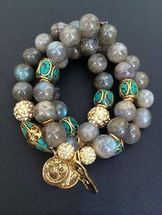 3 bracelet stack with agate beads pave by addieandisaacjewelry Boho Jewelry, Jewelry Crafts, Beaded Jewelry, Jewelry Bracelets, Fashion Jewelry, Jewelry Design, Beaded Necklace, Jewellery, Diamond Bracelets