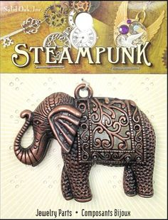 Shop   Category: Charms   Product: Solid Oak Charm Steampunk Elephant Antique Copper