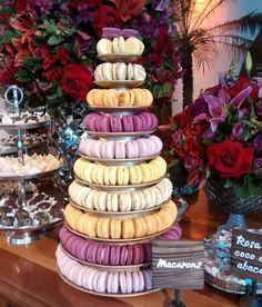 Macaroon Tower, Macaroons, Cake, Desserts, Food, Candy Table, Quinceanera, Wedding Boutonniere, Buen Dia