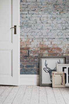 Get the look with this brick effect wallpaper design. Bringing together an industrial charm with a contemporary feel, this brick wallpaper works a dream with white Scandi inspired interiors. Brick Wallpaper Mural, Look Wallpaper, Exposed Brick Wallpaper, White Wallpaper, Grey Brick Effect Wallpaper, Brick Interior, Modern Interior Design, Interior And Exterior, Classic Interior