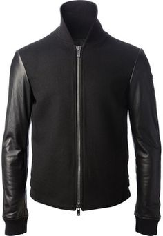 Modern, sexy interpretation of the bomber Emporio Armani contrast sleeve jacket on shopstyle.com