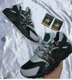 2e295b3a5fd8 ... hot 2018 popular custom nike huarache cucci size 36 46 gery black noir  youth big boys