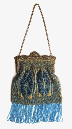 Smart Antique Silver Filigree Butterfly Frame Tan Crochet Blue Glass Bead Fringe Purse Antiques Bags, Handbags & Cases