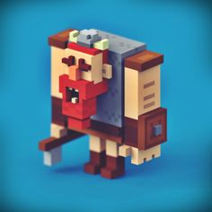 Muscled voxel character: viking