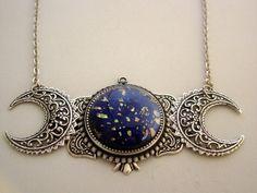 Triple Moon Goddess Art Nouveau Vintage Black by JJsCollections