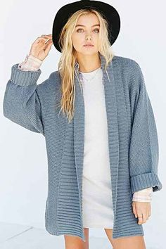 Urban Outfitters Silence + Noise Wide-Ribbed Open Cardigan