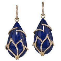 Live from Couture: Katie Decker 18k gold, lapis and diamond earrings