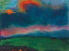 Emil Nolde (German, 1867-1956), Abendliche Marschlandschaft (Seebüll) [Evening Marsh Landscape (Seebüll)], c.1935-40. Watercolour on thin Japan paper.