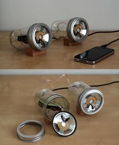 iPhone speakers made out of jars #iPhone
