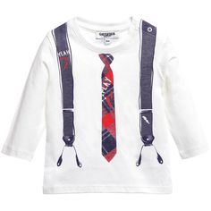 Little boys, stretch cotton jersey top by Junior Gaultier with a cute image on the front that look like braces and a tartan tie. It fastens on the shoulder with poppers for easy dressing over the head.  <br /> <ul> <li>100% cotton (stretch cotton jersey)</li> <li>Machine wash (30*C)</li> <li>Style name: Pierinot</li> <li>Designer colour: Ecru </li> </ul>