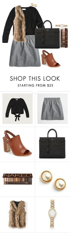 """""""when your walking behind him and he keeps turning around and smiling"""" by sunglamourandpreppiness ❤ liked on Polyvore featuring Abercrombie & Fitch, J.Crew, Dune, Yves Saint Laurent, Urban Decay, Kate Spade and Forever 21"""