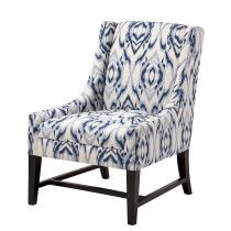 Blue and off-white patterned classic armchair. The Harrison armchair features cool calming blue hues and striking contrast dark ebony stained frame this lounge chair will add a relaxed style to your interior. Solid Wood Dining Chairs, Upholstered Dining Chairs, Dining Room Chairs, Club Chairs, Lounge Chairs, French Furniture, Retro Furniture, Furniture Design, Furniture Chairs