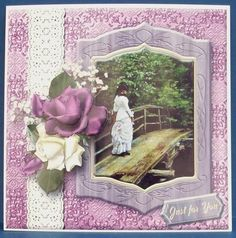 Lady on a Bridge Vintage Art Mini Kit on Craftsuprint designed by Mary MacBean - made by Cheryl French - Printed onto glossy photo paper. Attached base image to 8x8 card stock using ds tape. Built up image with 1mm foam pads.  - Now available for download!