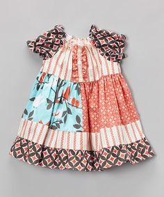 Look at this #zulilyfind! Coral & Blue Bird Peasant Dress - Toddler & Girls by Smartie Britches #zulilyfinds