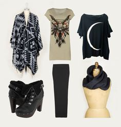 Todays Shopping spree!   Poncho from spotted moth, Skull Shirt from all saints, crescent moon T from wildfox, dolce vida booties, long black maxi skirt from all saints, and scarf from spotted moth. Can't wait till it arrives!