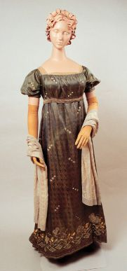 Evening dress, probably from England or possibly France, circa 1805-1812.  Sea green and gold pattern-weave silk embroidered with silk thread, beads and sequins.  Kent State University Museum   Collection of the Allen Art Museum, Oberlin, Museum purchase, 1949.  KSUM L1995.17.6