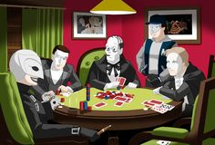 """""""Phantoms Playing Poker"""" by Raphael (aka Romil Ilagan) of always excellent Phantoons (http://www.phantoonsoftheopera.com). This work is based on the famous """"Poker Dogs"""" series of paintings by Cassius Marcellus Coolidge. Featured here are (from left to right): The Phantom of the Paradise, ALW's Phantom of the Opera, Universal's 1925 Phantom of the Opera, Phantom of the Mall, and Y/K Phantom."""