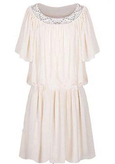 Vestido gasa plisado aplique strass-Blanco EUR22.63 www.sheinside.com