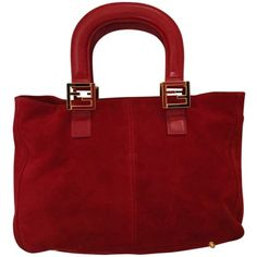 Pre-owned Fendi Red Tote Bag ($275) ❤ liked on Polyvore featuring bags, handbags, tote bags, red, fendi purses, suede tote bag, pre owned handbags, handbags totes and fendi handbags