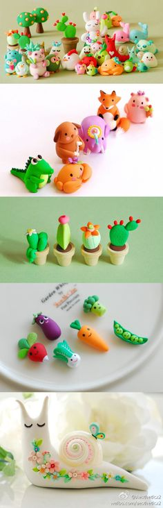Cutest little polymer clay figures. (Could use for dollhouse accessories.)
