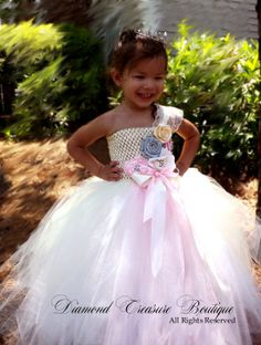 Vintage style Ivory, Silver, and Palest Pink Flower girl tutu dress. Now available at www.diamondtreasureboutique..com Flower Girl Tutu, Flower Girl Dresses, Vintage Style, Vintage Fashion, My Beautiful Daughter, Pale Pink, Pink Flowers, Modeling, Tulle