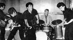 the Beatles,pre-Beatles unit cut in the bathroom of Paul McCartney's Liverpool house, in spring 1960.  Read more: http://www.rollingstone.com/music/lists/beatles-1960-bathroom-tapes-the-5-best-tracks-20150611#ixzz3coKvxJ6s  Follow us: @rollingstone on Twitter   RollingStone on Facebook