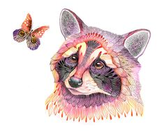 Raccoon and butterfly, animal water color art print, LIMITED EDITION 3/100 (No. 22). $21.00, via Etsy.