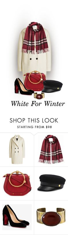 """""""White Coat Contest"""" by shamrockclover ❤ liked on Polyvore featuring Carven, Burberry, Chloé, Henri Bendel, Christian Louboutin and Orduna Design"""