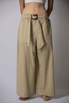 Women s Thai Harem Palazzo Pants in Solid Tan ab2b537c3