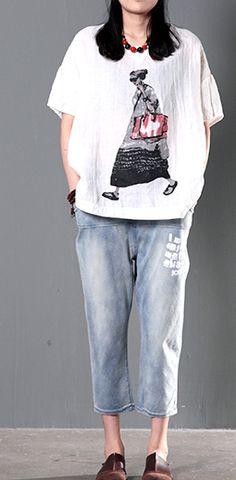 Linen t shirt. City girl white linen summer t shirt women plus size top