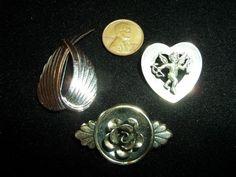 VINTAGE STERLING 3 BROOCH LOT ANGEL WINGS, HEART CHERUB & FLOWER BEAU & JEWELART