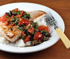 Pan seared salmon with tomato-caper relish