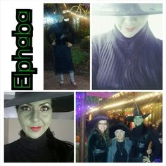 Elphaba, the Wicked Witch of the West Costume: black long sleeved turtle neck, black corset,  black skirt,  striped stockings, and Mary Jane shoes turned red by using rub n buff