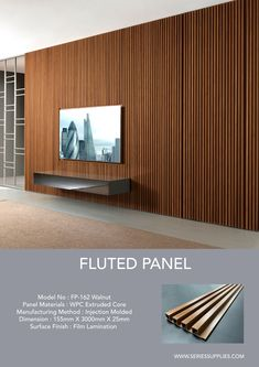Create clean, crisp, continuous channels and shadow lines with Fluted Panel. This innovative and sophisticated product come in 3 different wood melamine finish (Oak, Walnut and Wenge ).Material made of WPC ( wood plastic composite ). Wooden Wall Design, Wall Panel Design, Feature Wall Design, Tv Wall Design, Tv Feature Wall, Wood Slat Wall, Wooden Wall Panels, Wood Slats, Wood Wall Paneling