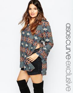 ASOS CURVE 70's Lace Up Tunic in Paisley