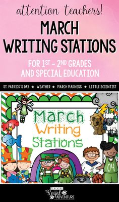 This multi-page March Writing Stations packet is the perfect addition to your Daily 5 stations. The themes included are: St. Patrick's Day, Weather, March Madness, Just Read Week, Little Scientist, and Transportation. Perfect writing station ideas for ESL, homeschool, special education, preschool, kindergarten, first grade, second grade and third grade. Click to download now. #firstgrade #secondgrade #kindergartenteacher #earlylearning #homeschool #specialeducation