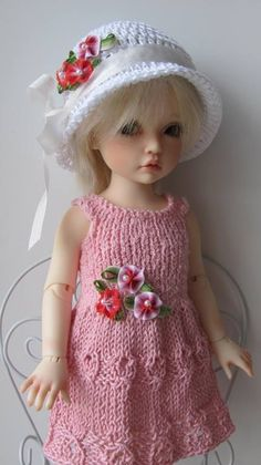 Hand Knit Outfit Set for 10'' Doll