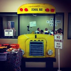 school bus out of cardboard and spray paint for the halloween work party.