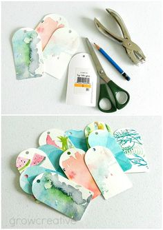 gift tags from recycled watercolor paintings