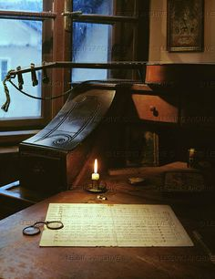 """ROMANTIC MANUSCRIPT 19TH  The manuscript of the world's most famous Christmas song """"Silent Night,holy night"""" on the desk of composer and school teacher Franz Gruber in his house in Hallein,Austria.  Gruber House, Hallein, Austria"""