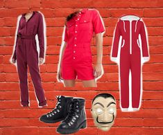 It's as simple as a red jumpsuit and a mask - EASY! Create the look without spending a fortune by using what's in your wardrobe or investing in something you'll wear again. Here are some great ideas for putting together your Halloween costume. Red Jumpsuit, Diy Halloween Costumes, Investing, Create, Simple, Easy, How To Wear, Pants, Fashion