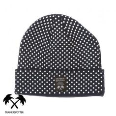 $11, Black Polka Dot Beanie: Trainerspotter Polka Dot Beanie Navy Polka. Sold by Surfdome. Click for more info: https://lookastic.com/men/shop_items/185460/redirect