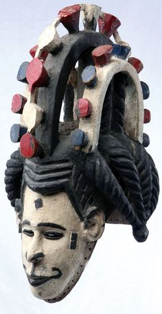 Africa | Skull cap mask from the Igbo people of Nigeria | Wood and paint