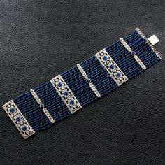 Diamond Bracelets, Cuffs & Bangles : Sapphire & Diamond Estate Bracelet - Buy Me Diamond Diamond Bracelets, Ankle Bracelets, Sterling Silver Bracelets, Jewelry Bracelets, Handmade Bracelets, Sapphire Jewelry, Sapphire Diamond, Beaded Jewelry, Fine Jewelry