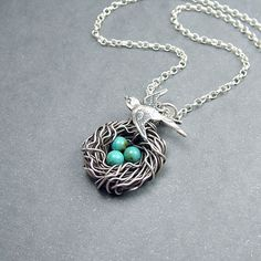 Sterling Silver and Turquoise Robin's Egg Necklace....I LOVE this!