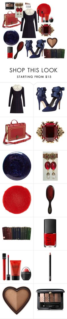 """Beauty by the book"" by alisafranklin on Polyvore featuring Miu Miu, Alice + Olivia, Alexander McQueen, Lauren B. Beauty, Christian Louboutin, Mason Pearson, NARS Cosmetics, Sephora Collection, Too Faced Cosmetics and Guerlain"