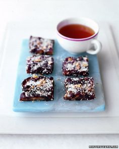 Coconut-Date Bars-#paleo yum  3 tablespoons unsweetened shredded coconut  1 pound very soft dates pitted  1/4 cup walnuts toasted and finely chopped