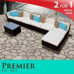 Click Image Twice For Updated Pricing And Info See More Patio Sofa At Premier Outdoor Wicker 8 Piece Patio Set Ivory Covers